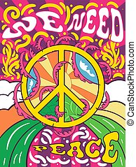 Vibrant colorful We Need Peace design