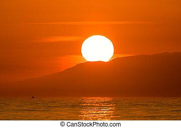 vibrant, dramatique, coucher soleil, hawaï