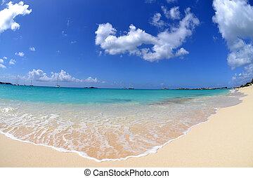 vibrant, en, mooi, strand