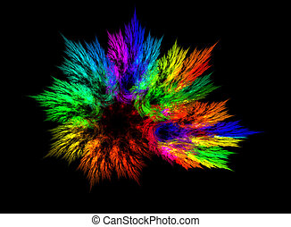Vibrant Explosion over black - Abstract explosion of vibrant...