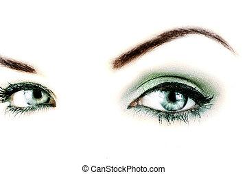 Vibrant eyes - A macro close up of a womans vibrant blue ...