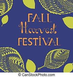 Vibrant Fall Harvest Festival Poster and Lettering