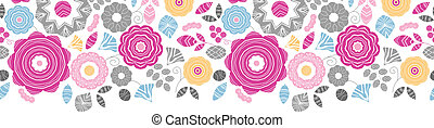 Vibrant floral scaterred horizontal seamless pattern...