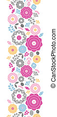 Vibrant floral scaterred vertical seamless pattern background