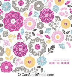 vibrant, frame, scaterred, vector, achtergrondmodel, floral, hoek