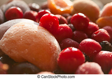 Vibrant Heap of Frozen Fruits