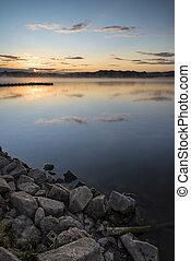 vibrant, jetée, lac, levers de soleil, calme, paysage
