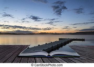vibrant, jetée, lac, livre, paysage, conceptuel, levers de soleil, calme