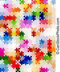 vibrant jigsaw pieces pattern - seamless texture of colorful...