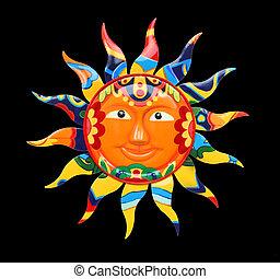 vibrant, kleurrijke, zon