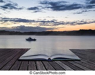 vibrant, lac, bateau, livre, levers de soleil, conceptuel, paysage, calme