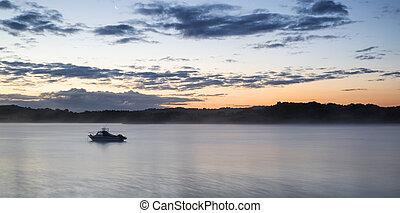 vibrant, lac, levers de soleil, paysage, bateau, calme