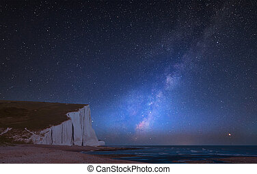 Vibrant Milky Way composite image over landscape of Seven...