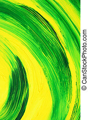 Vibrant oil-painted abstract curves - Green and yellow...