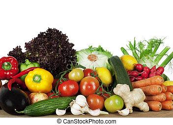 Healthy Eating- summer seasonal organic vegetables on display