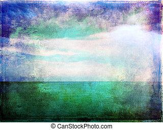 vibrant, résumé, ciel, image, mer