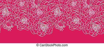 Vibrant red lace flowers horizontal seamless pattern background border