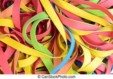 vibrant rubber strips - colorful large stack of rubber...