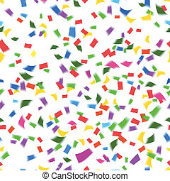 Vibrant seamless vector pattern of falling paper confetti in the colors of the rainbow or spectrum in a festive party or holiday concept such as New Year Christmas wedding or birthday