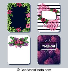 Vibrant set of tropical backgrounds