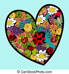 Vibrant spring heart love - Multicolored heart love with...