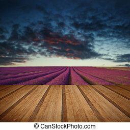 Vibrant Summer sunset over lavender field landscape with wooden planks floor