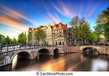 Vibrant sunset Amsterdam