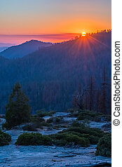 Vibrant Sunset Over Mountains in Sequoia