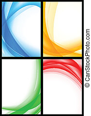 Vibrant templates collection - Abstract multicolored waves ...
