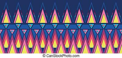 Vibrant triangles horizontal seamless pattern background border