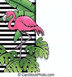 Vibrant tropical flamingo banner