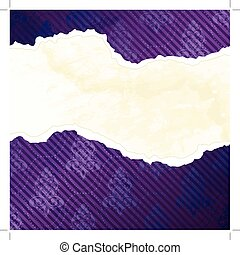 Banner in the shape of a torn purple wallpaper, inspired by Victorian designs. Graphics are grouped and in several layers for easy editing. The file can be scaled to any size.