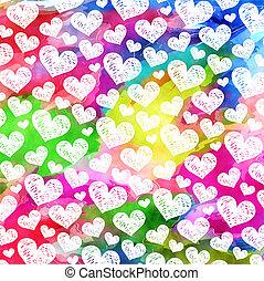 Vibrant Watercolor Ink Love Heart Pattern