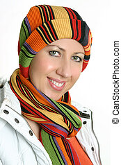 Vibrant woman dressed for winter - Smiling adult woman...