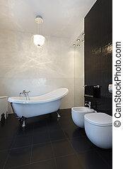 vibrante, cabaña, -, clásico, cuarto de baño
