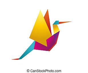 vibrante, colori, origami, cicogna