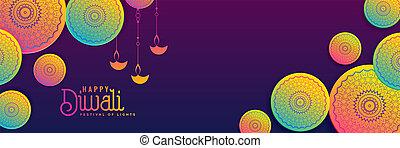 vibrante, diwali, creativo, colori, fondo, bandiera