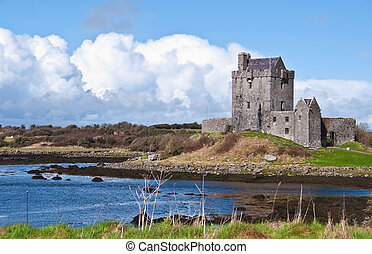 vibrante, irlandese, castello, irlanda, ovest