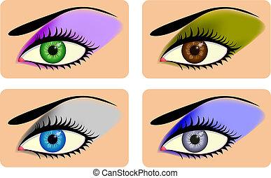 vibrante, occhi, attraente, femmina