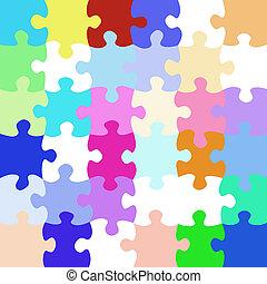 vibrante, pedazos jigsaw, patrón