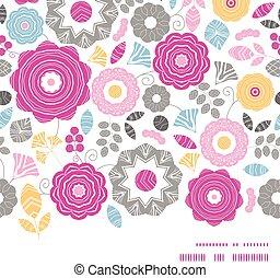 vibrante, quadro, scaterred, seamless, vetorial, padrão experiência, floral, horizontais