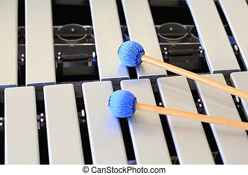 Vibraphone and Mallets - A close up of a vibraphone keyboard...