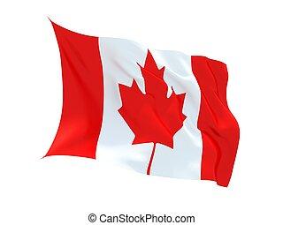 vibrar, 3d, bandeira canadense, isolado, branco