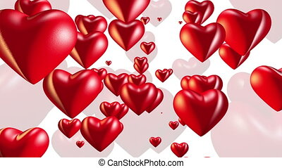 Vibrating red hearts on white