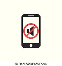 vibration., altoparlante, mode., silenzioso, smartphone., icon., soundless, vettore, modo, appartamento, illustration., design.