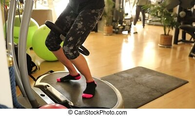 vibration plate thigh toner - Slow motion half body of fit...