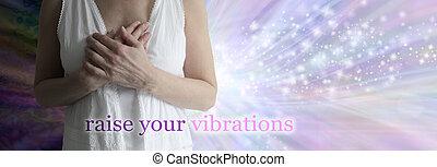 vibrations, augmentation, concept, guérison, bannière, ton