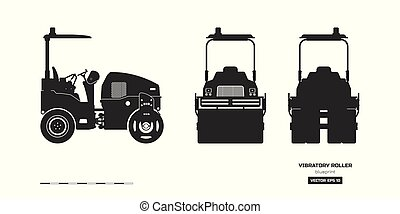 vibratory, 边, 工业, 侧面影象, 沥青, roller., 往回, 隔离, 黑色, compactor, 前面, 观点。, 图