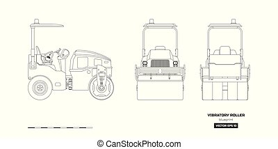 Vibratory roller in outline style. Side, back and front view. Building machinery image. Industrial isolated drawing of asphalt compactor. Diesel vehicle blueprint. Vector illustration