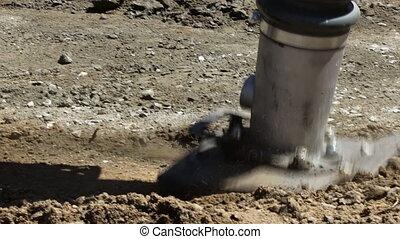 vibratory, travail, marteau, puissance, outil construction, trottoir, terrestre, installation, trottoir